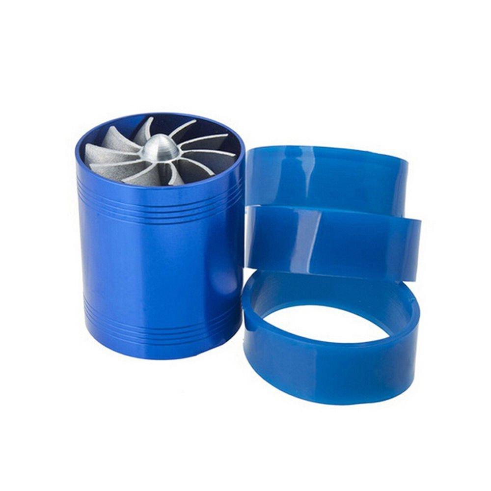 Turbocharger Fan - Supercharger Power Air Intake Turbonator Dual Fan, Turbine Gas Fuel Saver Turbo (Color : Blue) Dewin