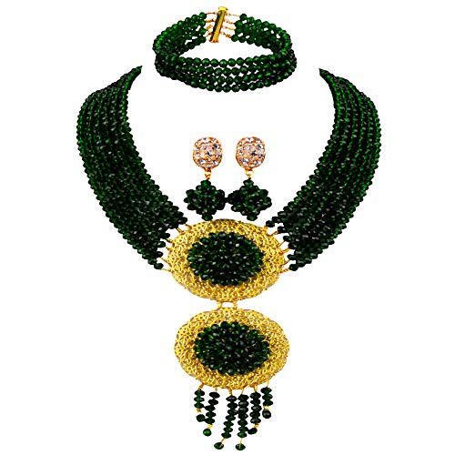 acuzv 6 Rows African Necklaces for Women Nigerian Beads Jewelry Set Wedding Bridal Party Jewelry Sets (Dark Green)