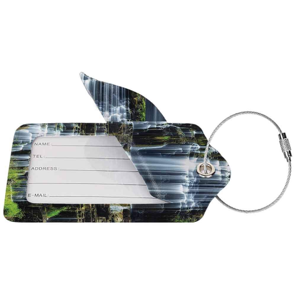 Printed luggage tag Rainforest Decorations Waterfall in the Middle of Tropical Jungle Natural Scenery Countryside Style Protect personal privacy Green White W2.7 x L4.6