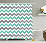 Chevron Shower Curtain Set By Ambesonne, Chevron Pattern Geometric Wavy Zigzag Herringbone Fashionable Illustration, Bathroom Accessories, With Hooks, 69W X 70L Inches, Seafoam Grey White