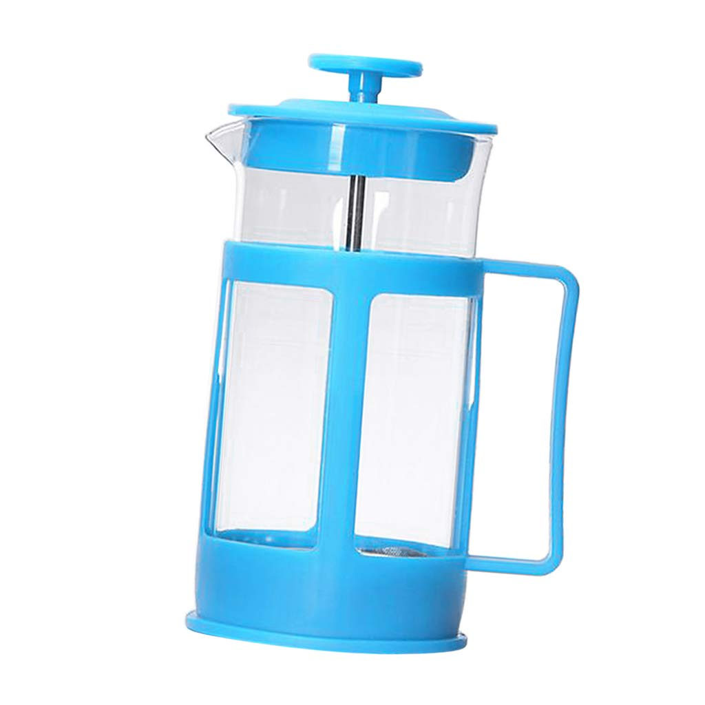 Prettyia 1pc Plastic Cafetiere with Plunger Coffee Maker Home Kitchen Beaker 350ml - Blue