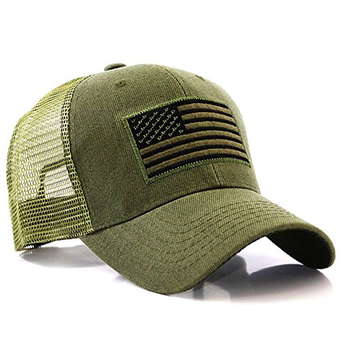 US American Flag Patch Tactical Style Mesh Trucker Baseball Cap Hat