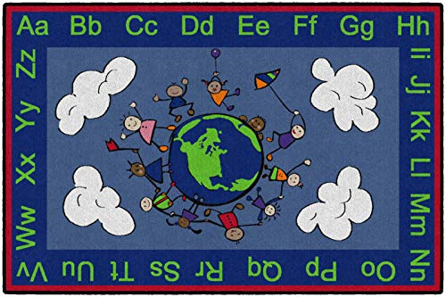 Flagship Carpets CE189-22W Happy World Rug, Promotes Acceptance with Cheerful Friends of Diverse Backgrounds, 4' x 6', 48