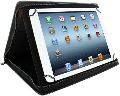 KHOMO Universal Tablet Padfolio Zippered Case for 8.5 up to 11 tablets - Carbon Fiber - Compatible with iPad Air, Pro 11 and many others
