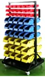 XtremepowerUS Heavy-Duty Rolling Parts Cart with 90 Organizer Bins