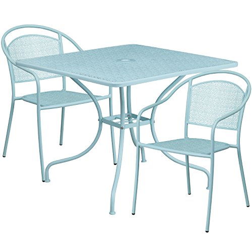 """Cheap Flash Furniture 35.5"""" Square Sky Blue Indoor-Outdoor Steel Patio Table Set with 2 Round Back Chairs"""