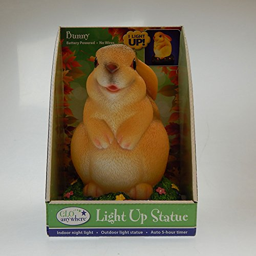 Exhart Rabbit LED Statue with Automatic Timer, Brown