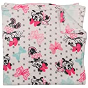 Disney Minnie Mouse Single Sided Flannel Fleece Blanket, Bows Print