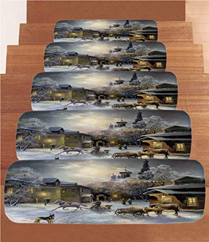 SoSung Country Decor Coral Fleece Stair Treads,Stair Tread Mats,Winter Landscape of a Western Town at Night in New World Rurals in Retro Style Art Print Deco,(Set of 5) 8.6