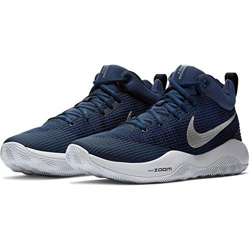 Chaussures De Basket Nike Mens Zoom Rev Tb Bleu Marine / Argent Métallisé-blanc (922048-401) Taille 6.5