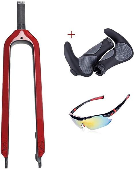 QQKJ Horquillas de Fibra de Carbono para Bicicleta de montaña 26 ...