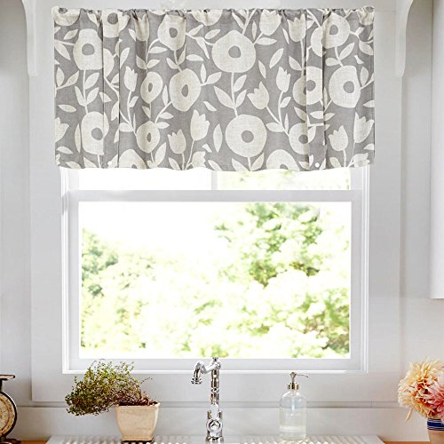 Valances for Windows Linen Textured Valance Curtains for Kitchen Rod Pocket Rustic Vintage Floral Printed Valance (1 Panel, 18-Inch Grey and White)
