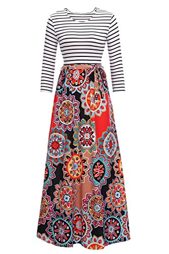FISOUL Women's Maxi Dress Striped Floral Print Round Neck Tunic Tie Waist Maxi Dress With (Striped Neck Wrap)
