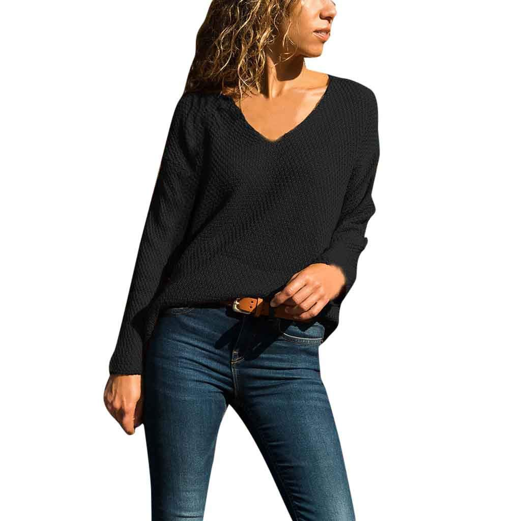 WOCACHI Blouses for Womens, Women's V-Neck Solid Color Matching Long-Sleeved Slim Sweater Pullover Sweater Trendy Tee Halter Backless Hollowout Long Sleeve Sleeveless Strap Strapless Bottoming