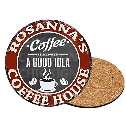 ROSANNA'S COFFEE HOUSE 6 of Set Custom Personalized Coasters Rustic Shabby Vintage Style Retro Kitchen Bar Pub Coffee Shop Housewarming Gift Wedding Gift Ideas