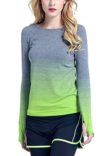 workout Products : IVVIC Yoga Sports Gradient color Long Sleeve Shirt Women Slim Outdoor T-Shirt