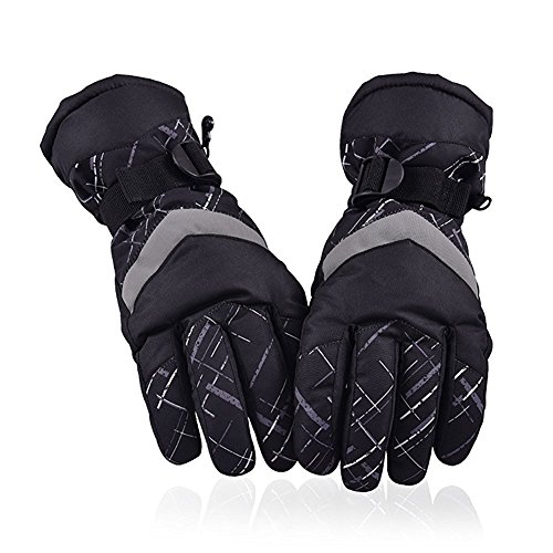 HUO ZAO Winter Snow Ski Gloves for Mens Warm Waterproof Winter Outdoor Cycling Snowmobile (AG-03) (Waterproof Mens Ski Glove)