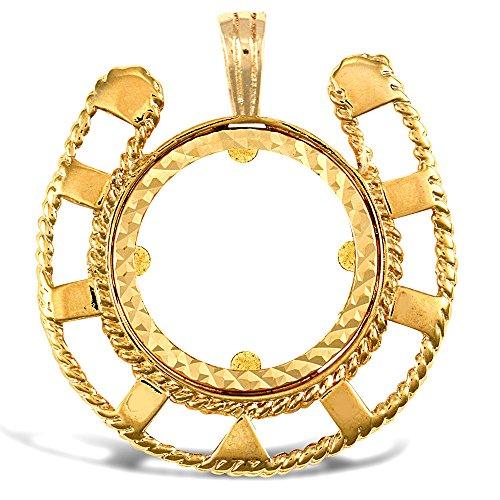 Jewelco 9K cadre or chaussure cheval coin demi-souveraine pendentif monture