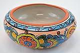 Talavera Donut Round 11'' Planter Pot Hand Painted Ceramic Garden Decor (Orange)
