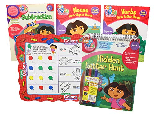 (Dora Workbooks Set and Wipe-Off Activity Mat - 4 Pre-K Learning Activity Books, Educational Color Placemat, and Washable Markers Great Value Pack for Kids Toddlers Preschoolers)