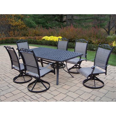 Oakland Living Cascade 7-Piece Black Dining Set with Boat Shape Table, 70 by 38-Inch