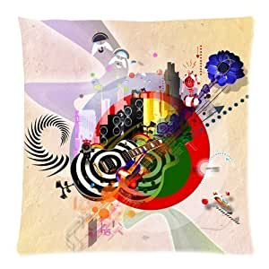 Custom Abstract Guitar Art Zippered Square Throw Pillow Cover Cushion Case 18x18 (Twin sides)