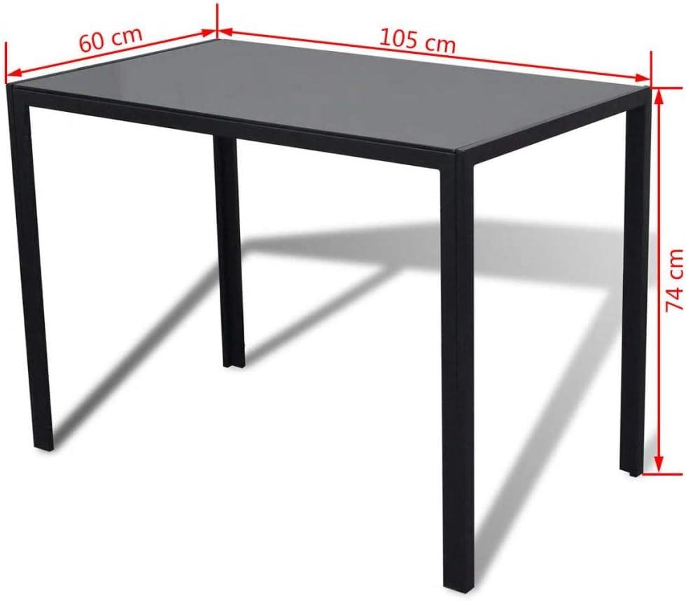 vidaXL Conjunto de Salón Comedor 5 Piezas Negro Juego de Mesa y Sillas Muebles