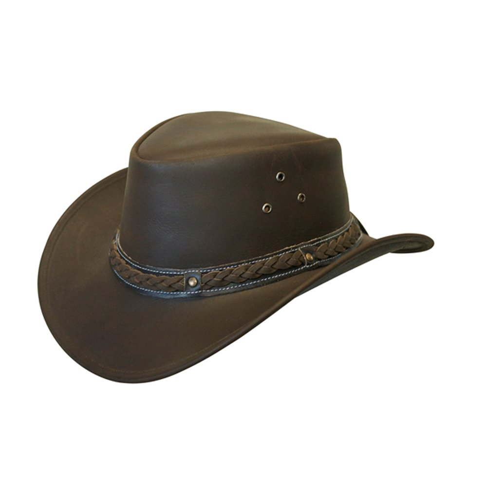 Lesa Collection LEATHER HAT AUSSIE BUSH STYLE Classic Western Outback SK_2