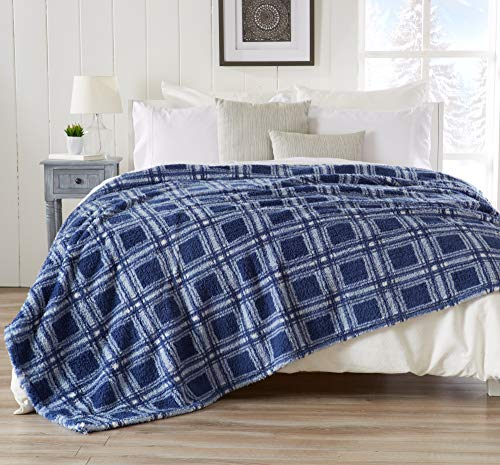 Blanket Knitted Wash - Great Bay Home Ultra Soft, Cozy Plaid Sherpa Stretch Knitted Bed Blanket. Lightweight, Elegant, Chic Blanket for Sleeping. (Full/Queen, Blue)