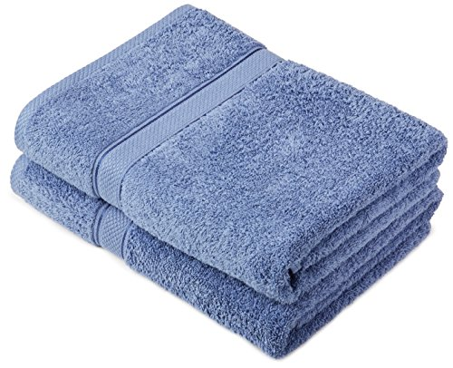 Pinzon by Amazon Lot de 2 draps de bain en coton Bleu Wedgwood
