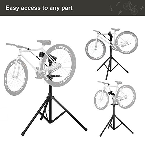 SONGMICS Bike Repair Stand with Aluminum Alloy Arm, Large Tool Tray, Full Features Stronger & Durable, Portable, Compact USBR03B by SONGMICS (Image #7)