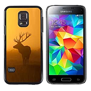 LECELL -- Funda protectora / Cubierta / Piel For Samsung Galaxy S5 Mini, SM-G800, NOT S5 REGULAR! -- Morning Nature Deer Moose Sunset Sunrise --