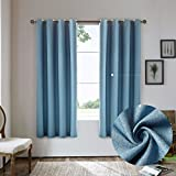 Nicasso Basics Solid Blackout Room Darkening Grommet/Eyelet Top Window Curtains Panels Thermal Insulated Draperies for Bedroom(Single panel,W52 x L63,Blue)
