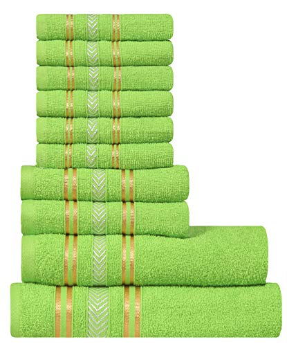 - Extra Light Weight 10 Piece Family Towel Set - Natural Green 100% Natural Ring-spun finest quality cotton yarn, 400 GSM, Soft, Absorbent, Durable, Reasonable, Quick Dry - DIVINE Essence