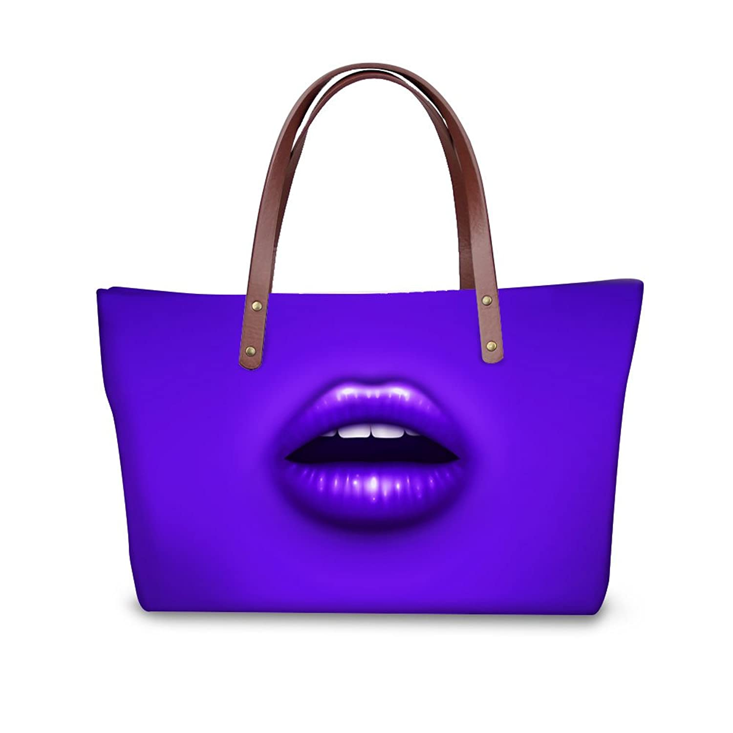 FOR U DESIGNS Fashion Water Resistant Sexy Lip Women Casual Handbag Neoprene Shoulder Bags Tote Bags
