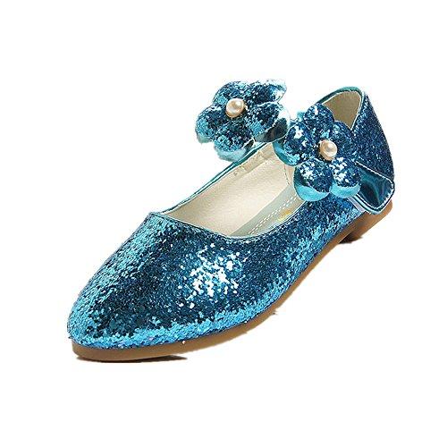 MIKA HOM Girls Sandals Princess Shoes Children's Performance Shoes High Heel(Blue 26/9 M US Toddler)