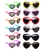 12 Pack Wholesales Heart Shape Design Neon Colors Cute Love Sunglasses for Birthday, Bachelorette, Sunmmer Vacation Parties 100% UV Protection Eyewear for Women and Girls (Multi)