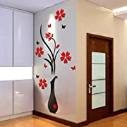 Wall Stickers, Boomboom DIY Vase Flower Tree Crystal Arcylic 3D Wall Stickers Home Decoration 80*40 Cm
