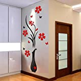 Diy Painting Kitchen Cabinets Makaor 3D Wall Stickers DIY Vase Flower Tree Crystal Arcylic Decal Home Decor 80cmx40cm/31.5x15.7