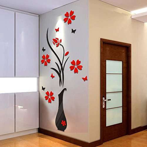 EDTO DIY Vase Flower Tree Crystal Arcylic 3D Removable Wall Stickers Decal Home Decor (Black)]()