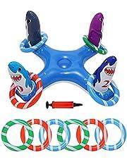 Ring Toss Game Ring Toss-spel Opblaasbare Dieren Opblaasbare Drijvende Zwembad Ring Toss Pool Games Toy Met Rings Pomp 8PCS