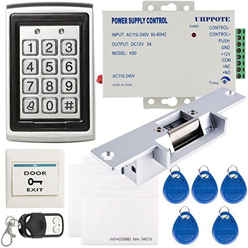 UHPPOTE Full Complete Metal Shell 125Khz Stand-alone Door Access Control Kit with Electric Strike Lock Power ()