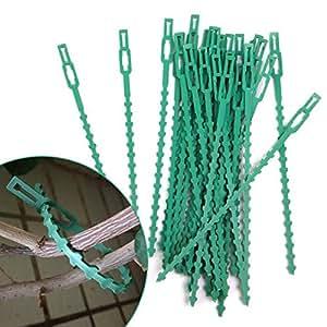 Resistente multiusos reutilizable jardín verde plástico planta apoyo escaladores Cable Ties, ajustable árbol escalada apoyo–50piezas