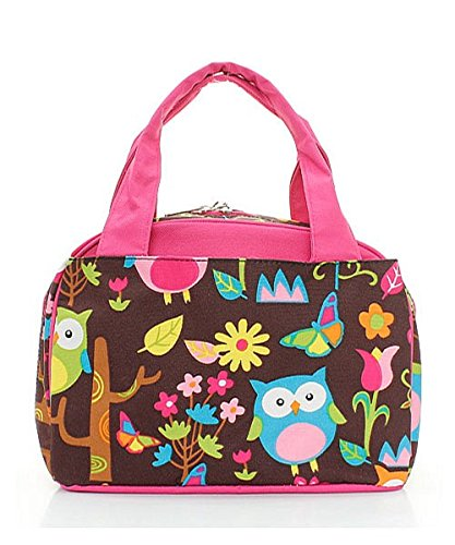 Owl Print Insulated Lunch Tote Bag (Pink) (Wholesale Coach Inspired Handbags)