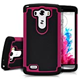 LG G3 Case, MagicMobile [Dual Armor Series] Rugged Durable [Impact Shockproof Resistant] Double Layer Cover [Hard Shell] & [Flexible Silicone] Case for LG G3 Case - Black / Hot Pink