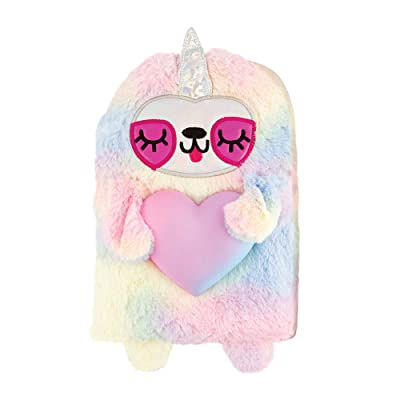 Fashion Angels Rainbow Sloth w/Squishy Heart Fun-Folio, Squish Journal, 80 Page Journal: Office Products