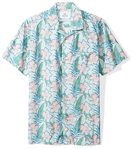 28 Palms Men's Standard-Fit 100% Cotton Tropical Hawaiian Shirt, Sky Blue/Pink Hibiscus Floral, Small