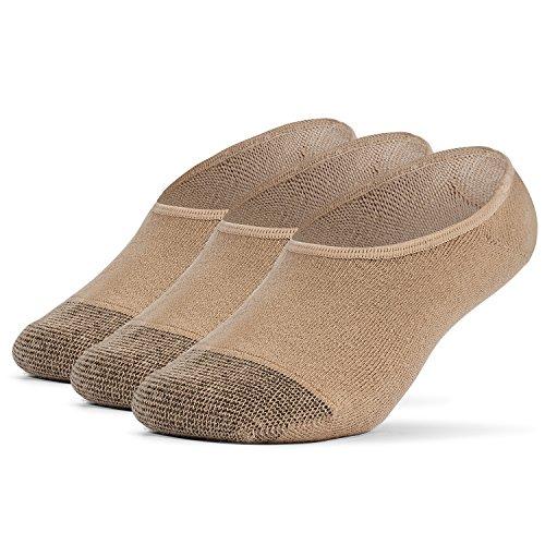 Trainer Liner Socks - Galiva Girls' Cotton Lightweight No Show Liner Socks - 3 Pairs, Medium, Nude Beige