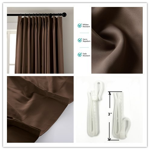 Macochico Chocolate Outdoor Indoor Watre Resistant Curtains for Library Hotel Classroom Kids Room Thermal Insulated Light Proof Anti-Noise Home Decoration Pinch Pleat Drape 84W x 102L (1 Panel) by Macochico (Image #4)
