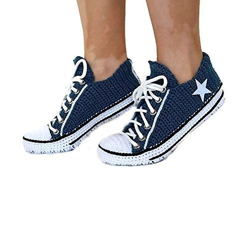 ad863e15c Amazon.com  Crochet Navy Men And Women Casual Home Low Top Slippers ...